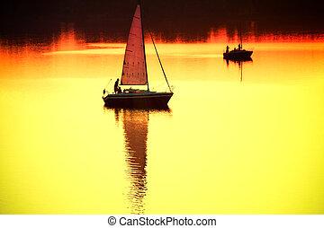 voilier, à, coucher soleil