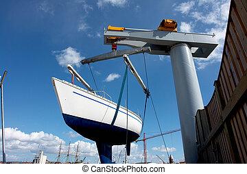 voilier, ascenseur, lifter, haut, bateau