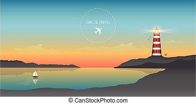 voilier, beau, paysage marin coucher soleil, océan, phare