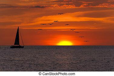 voilier, coucher soleil, fantasme