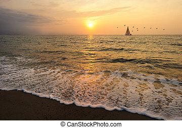 voilier, coucher soleil