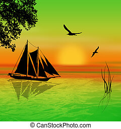voilier, coucher soleil, paysage