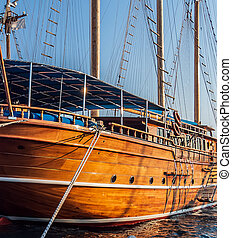 voilier, croisière, coast., jetée, turc, bois, bateau