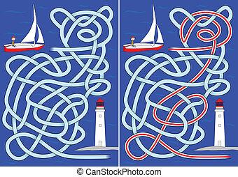 voilier, labyrinthe