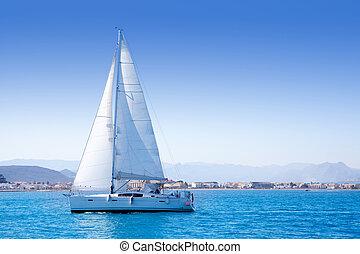 voilier, méditerranéen, denia, voile, mer