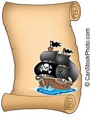 voilier, parchemin, pirate, brumeux