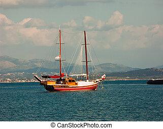 voilier, port, ancre, gaeta