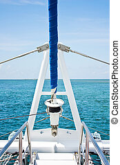 voilier, sur, a, beau, bleu, mer