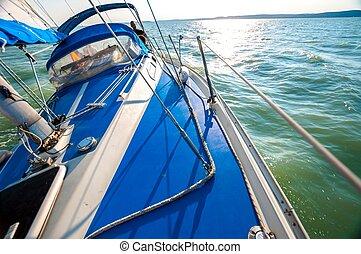 voilier, sur, les, eau