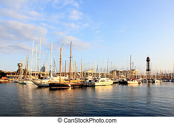 voiliers, barcelone, port