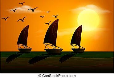 voiliers, silhouette, scène, coucher soleil
