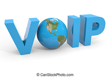 VOIP 3d text. Earth globe replacing O letter.