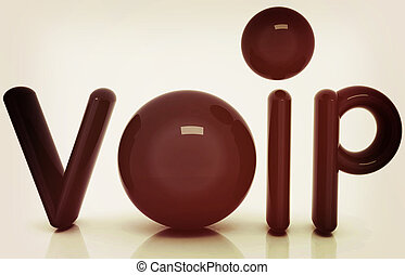VoIP 3d word of carbon material. 3D illustration. Vintage style.