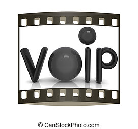 VoIP 3d word of carbon material. The film strip