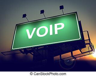 VOIP - Billboard on the Sunrise Background.