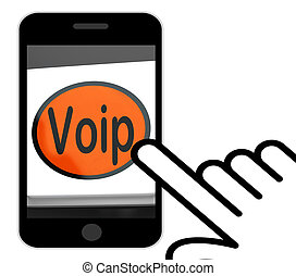 Voip Button Displays Voice Over Internet Protocol Or Broadband T