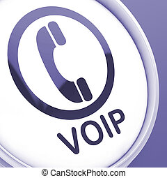 Voip Button Meaning Voice Over Internet Protocol Or Broadband Telephony