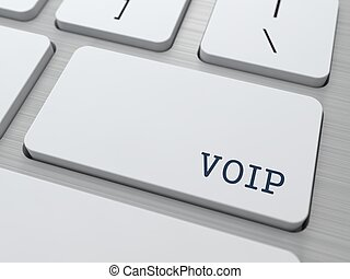 VOIP Concept. Button on Modern Computer Keyboard.