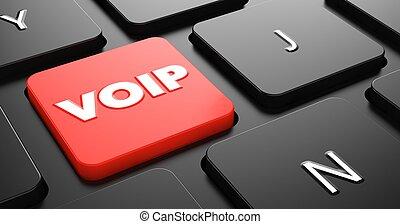 voip, concepto, en, rojo, teclado, button.