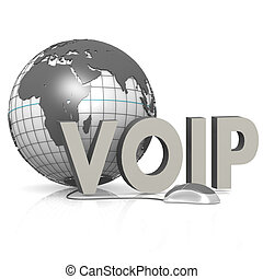VOIP, globe and mouse image with hi-res rendered artwork...