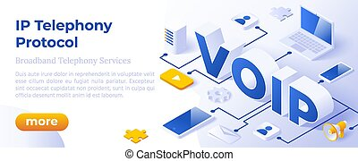 VOIP IP Telephony Services - Isometric Vector Concept ...