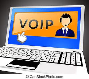 Voip Laptop Shows Internet Voice 3d Illustration