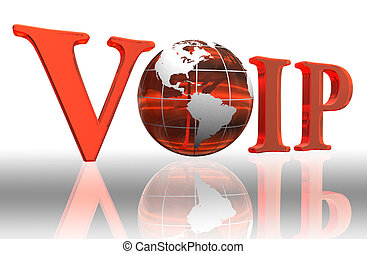 voip logo word and orange earth globe with clipping path