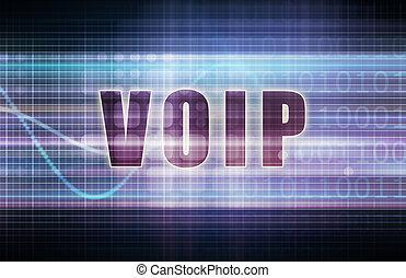 VOIP on a Tech Business Chart Art