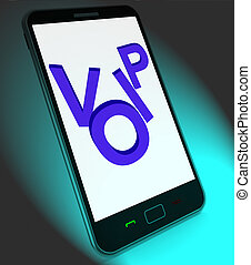 Voip On Mobile Shows Voice Over Internet Protocol Or Ip Telephon