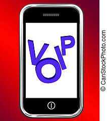 Voip On Phone Showing Voice Over Internet Protocol Or Ip Telephony
