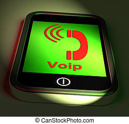 Voip On Phone Shows Voice Over Internet Protocol And Ip Telephon