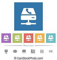 VoIP services flat white icons in square backgrounds. 6...