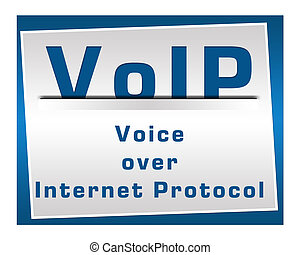 VoIP Square Blue - Voice over internet protocol image over...