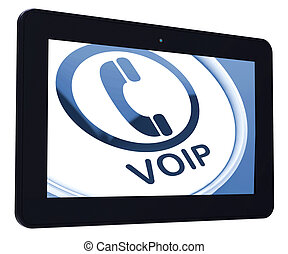 Voip Tablet Means Voice Over Internet Protocol Or Broadband...