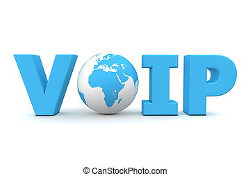 VoIP World Blue - blue word VoIP with 3D globe replacing...