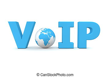 VoIP World Blue - Small Globe - blue word VoIP with small 3D...