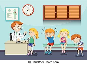 voir, attente, enfants, malade, docteur