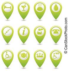 voir, ensemble, indicateur, service, icônes