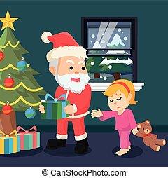 voir, girl, choc, santa