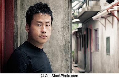 voir, solitaire, asiatique, stand, homme
