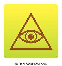 voir, tout, pyramide, arrondi, spiritual., brun, arrière-plan., isolated., coins, vert-jaune, symbole., gradient, carrée, vector., oeil, blanc, freemason, icône