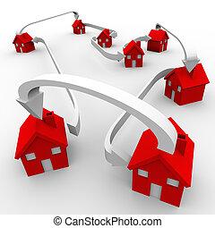 voisinage, beaucoup, communauté, maisons, en mouvement, connecté, rouges