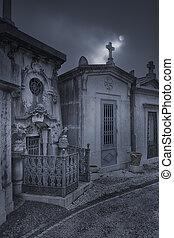 voisinage, nuit, cimetière, une