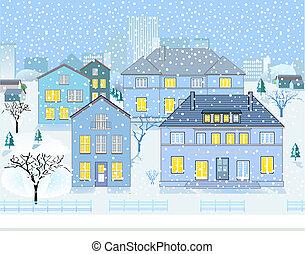 voisinage, paysage hiver
