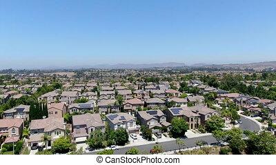 voisinage résidentiel, subdivision, vue aérienne, villas