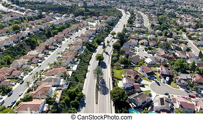 voisinage, san, autre, suburbain, route, aérien, villas,...