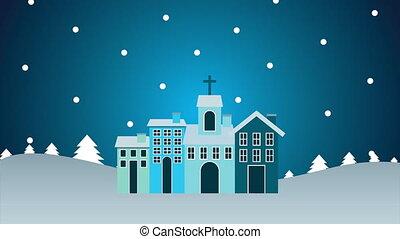 voisinage, snowscape, noël, joyeux, heureux, animation