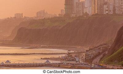 voisinage, timelapse, lima's, littoral, lima, vue, aérien, pendant, coucher soleil, miraflores, pérou