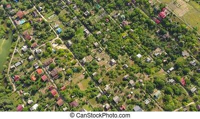 voisinage, ukrainien, vue, suburbain, ville, aérien
