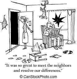 voisins, grand, il, ainsi, rencontrer, était
